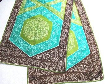 Long Vera Silk Scarf in Green and Brown