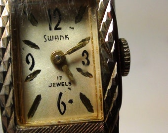 Art Deco Design SWANK Wind Up Watch 17 Jewels Lady's Expandable BAND Art Deco design  On SaLe Now