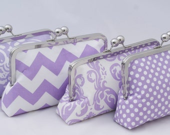 Bridesmaids Gift Clutch Handbag in light purple lilac Design your own bridal party gift for bridesmaids in various colors