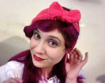 Crochet, Pink Bow, Headband Ear Warmer