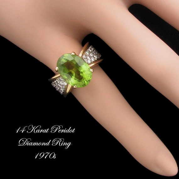 RESERVED for orthogirl14 14K Diamond Peridot Ring Vintage 1970s August Birthstone