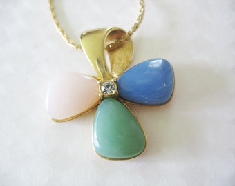Vintage Flower Pendant Necklace Avon Pink Blue Green Goldtone