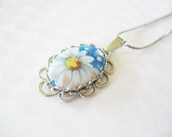 Painted Glass Flower Pendant Blue Oval Silver Filigree Vintage 1970's