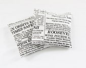 Black & White Newspaper Print Balsam Sachets, Scented Drawer Sachets, Gift for Dad, Mens Decor