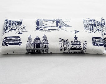 Yoga Eye Pillow, Lavender Flaxseed Headache Relief Pillow, London Icons, World Traveler Gift, Indigo Cream