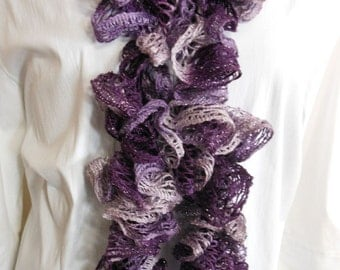 READY TO SHIP - Ruffled Crochet Scarf - Lavender Lilac - Crochet Scarf - Ruffled Scarf