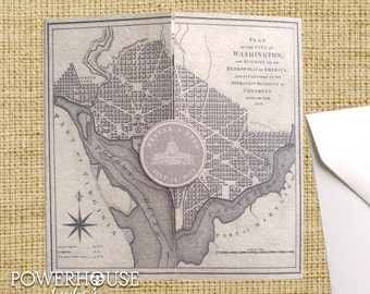 Washington DC Vintage Map Wedding Invitation  • DIY • We professionally print • you assemble