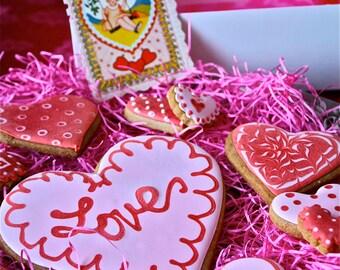 Valentine cookies- Sugar cookie hearts-sugar cookie hearts-red heart cookies-pink heart cookies-iced sugar valentine cookies