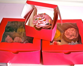 8 inch cake boxes-hot pink bakery boxes-pink boxes-bakery box-windowed boxes-cupcake boxes
