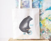 Cute bear bag cotton hand stencilled print