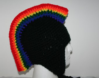 Rainbow mohawk hat - custom hat with ear flaps and braids - Gay pride  - LGBT hat