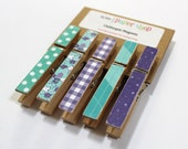 Teal and Purple Clothespin Magnets