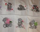 Tattered Teddies Machine Embroidered Quilt Blocks Set