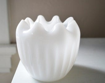 Ribbed/Crimped-Edge Milk Glass Rose Vase