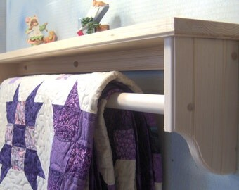 """Unfinished 36"""" quilt rod with shelf"""