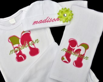Applique Letter Baby Girl Gown Hat and Burpcloth (OR Bib) Set with Flower