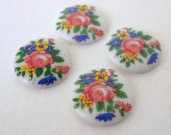 Vintage Flower Cabochon Cameo Rose Glass Round Bouquet 13mm gcb0798 (4)