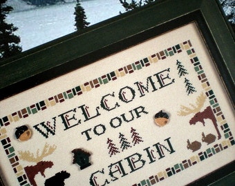 Cross Stitch Pattern, Cabin Fever, Moose and Bear, Something In Common, Lodge Look, Country Style Rustic Primitive