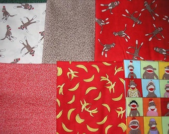 SIX  -    Half Yard Cuts of Monkey Fabrics by Moda  Total of 3 Yards