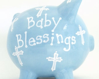 Baptism Piggy Bank - Personalized Piggy Bank - Christening Bank - Communion Bank - Religious Piggy Bank - with hole or NO hole in bottom