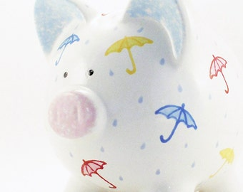 Shower Piggy Bank - Personalized Piggy Bank - Bridal Shower Bank - Save for a Rainy Day Bank  - Baby Shower Bank - with hole or NO hole