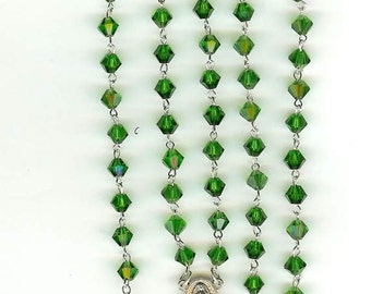 Handmade Rosary Necklace w/OurLady of Quadaloupe in Emerald Green Cut Glass Crystal