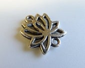 Lotus Flower Silver Plated Connector Charms