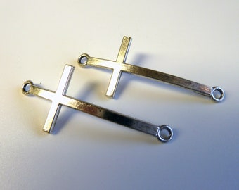 2 Large Silver Cross Connector Charms