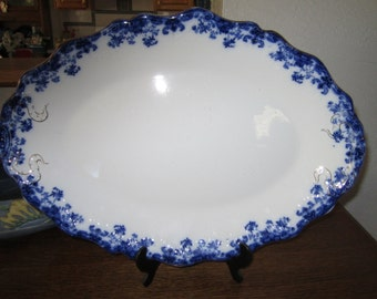 Reduced price- Antique Flow Blue Platter (Large) by John Maddocks & Sons England (LINDA)  Drop Dead Gorgeous
