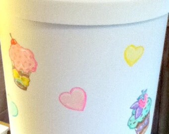 Hamper -Cupcake Theme- Handpainted -Personalized -Laundry Hamper