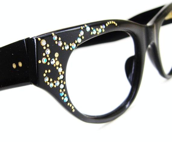 Vintage Cat Eye Eyeglasses Sunglasses Frame With Aurora Rhinestones