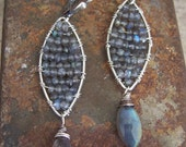 Sterling silver labradorite drop earrings // Stained Glass Earrings// Labradorite Earrings// Wire wrapped labradorite mosaic earrings