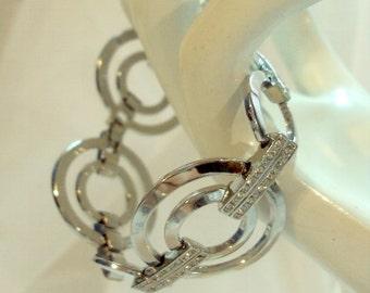 Circle Link Polished Silvertone Rhinestone Bracelet - Signed