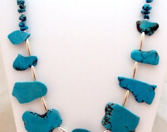 Turquoise Colored Magnesite Sterling Silver Necklace