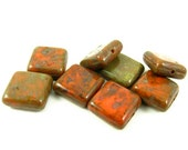 8 - Czech Pressed Glass Square Beads - Green with Rustic Brown Picasso - 10mm - S2029 .