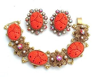 Vintage Selini Chunky Bracelet Clip Earrings Designer Jewelry Set Coral Hued Ornate Rhinestone Faux Pearl Demi Parure
