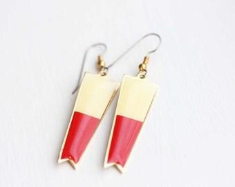 Red Color Block Earrings, Flag Earrings, Enamel Earrings, Red Earrings, Dangle Earrings, Retro Earrings, Canada Earrings