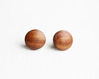 Wood Dot Studs, Wood Studs, Wood Earrings, Round Wood Studs, Round Studs, Circle Studs