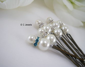 SALE Hint of Blue Simplicity Hairpins - Pick your Color