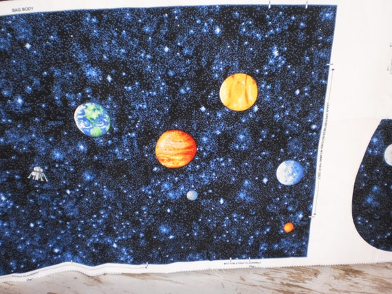 Back to school outer space planetary back pack fabric for Outer space fabric panel