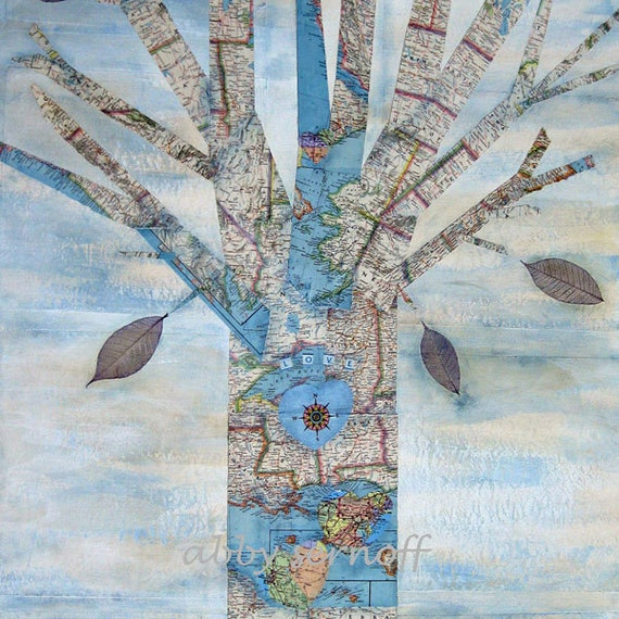 Map Art Large Original Canvas Art Tree 30 x 48 inches
