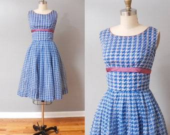 1950s Dress - Blue Houndstooth Full Skirt 50s Party Dress