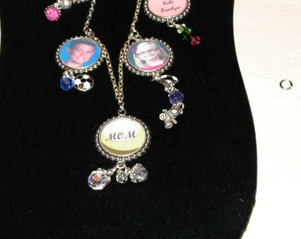 Mothers Day Personalized Photo Charm Necklace
