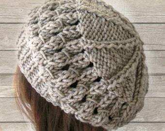 Knit Hat Winter Hat  beret  in  Oatmeal beige  Womens Hat gift for her Slouchy  Beret  Fall Autumn  Winter Accessories fashion  Christmas
