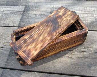 Rustic Wood Box - Candle, Photo, or Memory Box  - Torched Decor -  Anniversary Gift