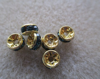 6pk 5mm Montana Gold Plated Rhinestone Roundelle