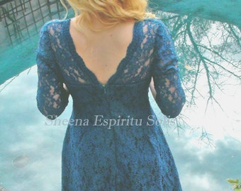 Teal Lace Dress - Vintage, Bohemian Inspired Design by Sheena Espiritu Solis