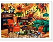 Art Print Still Life van Gogh Sunflowers Interior  Fireplace Books Furniture from Original Oil Painting van Gogh's Study by k Madison Moore