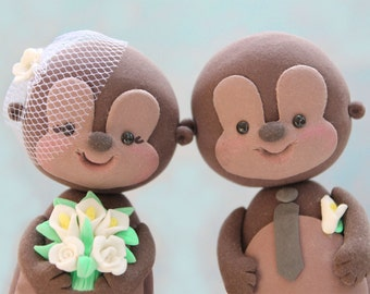 Wedding cake toppers Monkeys - cute custom funny - with banner - brown tan wild woodland zoo personalized names initial white calla lilies