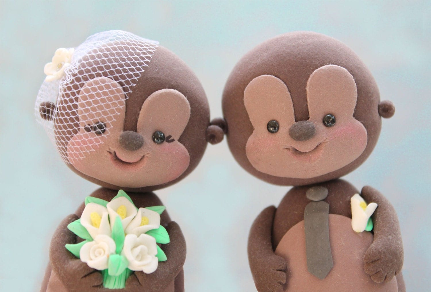 Wedding cake toppers Monkeys cute custom funny with banner